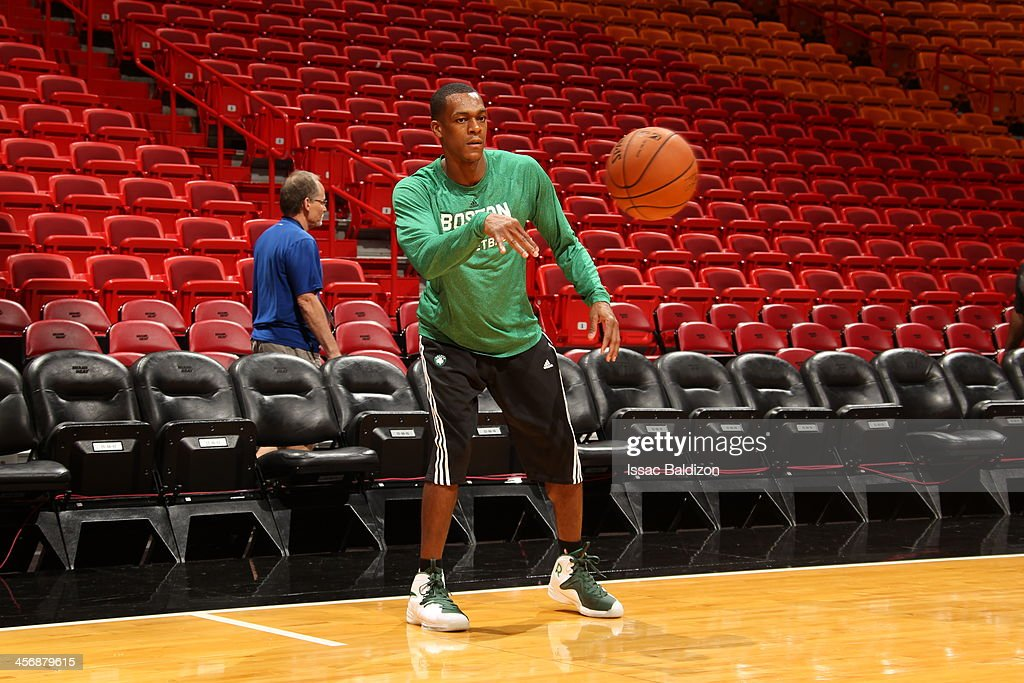 <a gi-track='captionPersonalityLinkClicked' href=/galleries/search?phrase=Rajon+Rondo&family=editorial&specificpeople=206983 ng-click='$event.stopPropagation()'>Rajon Rondo</a> #9 of the Boston Celtics warms-up against the Miami Heat on November 9, 2013 at American Airlines Arena in Miami, Florida.