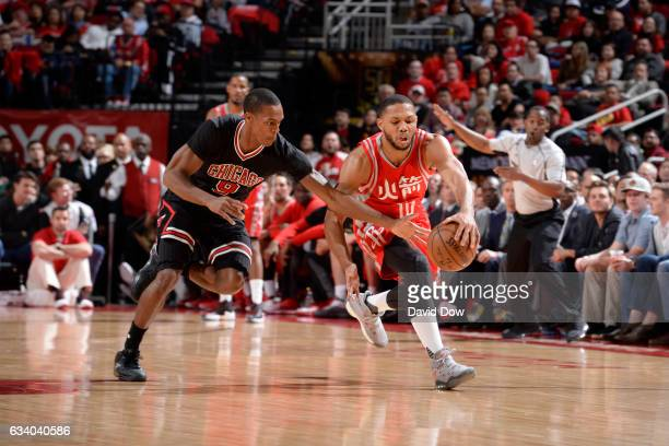 Rajon Rondo of the Chicago Bulls and Eric Gordon of the Houston Rockets go for the loose ball during the game on February 3 2017 at the Toyota Center...