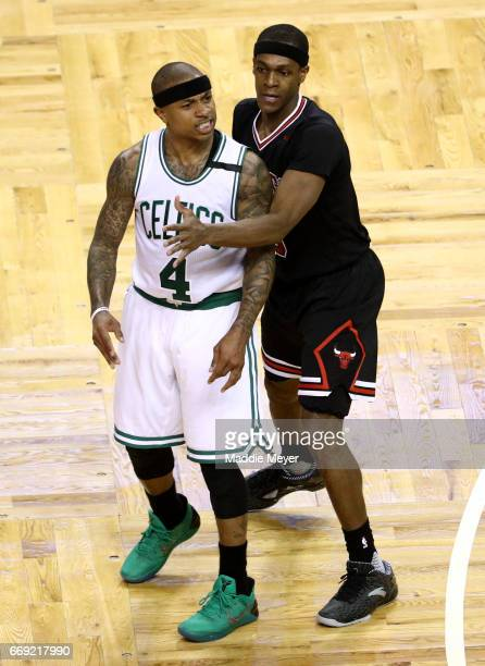 Rajon Rondo of the Chicago Bulls defends Isaiah Thomas of the Boston Celtics during the third quarter of Game One of the Eastern Conference...