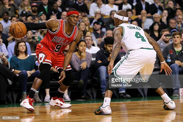 Rajon Rondo of the Chicago Bulls drives against Isaiah Thomas of the Boston Celtics during the first quarter at TD Garden on November 2 2016 in...
