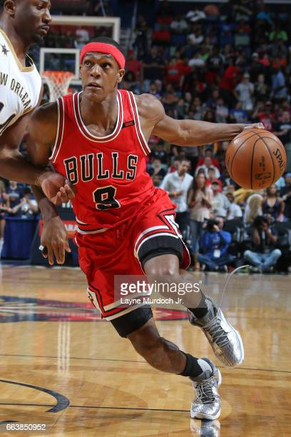 Rajon Rondo of the Chicago Bulls drives to the basket against the New Orleans Pelicans on April 2 2017 at Smoothie King Center in New Orleans...