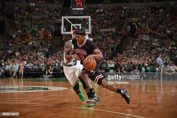 Rajon Rondo of the Chicago Bulls drives to the basket during the Eastern Conference Quarterfinals game against the Boston Celtics during the 2017 NBA...