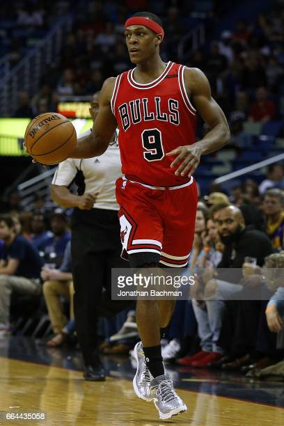 Rajon Rondo of the Chicago Bulls drives with the ball during the first half of a game against the New Orleans Pelicans at the Smoothie King Center on...