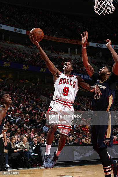 Rajon Rondo of the Chicago Bulls goes for the lay up during the game against the New Orleans Pelicans on January 14 2017 at the United Center in...