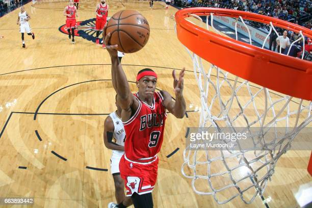 Rajon Rondo of the Chicago Bulls goes up for a lay up against the New Orleans Pelicans on April 2 2017 at Smoothie King Center in New Orleans...