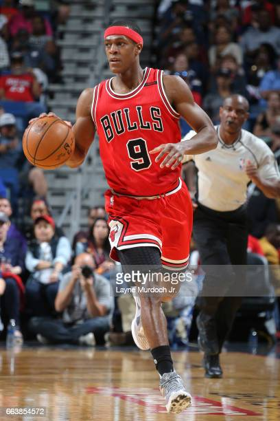 Rajon Rondo of the Chicago Bulls handles the ball against the New Orleans Pelicans on April 2 2017 at Smoothie King Center in New Orleans Louisiana...