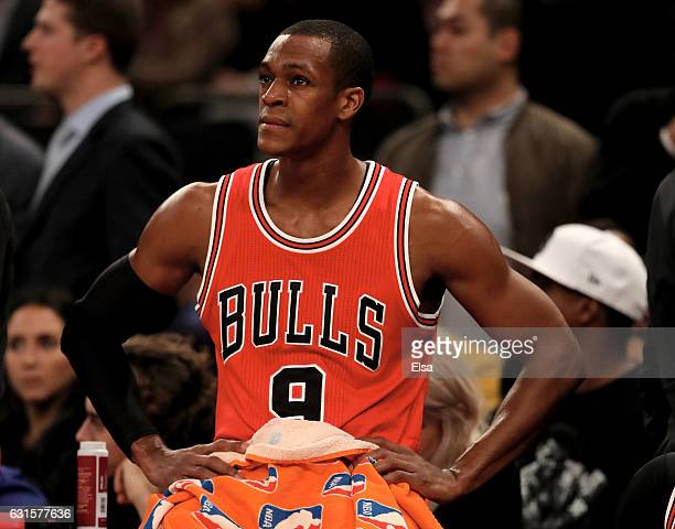 Rajon Rondo of the Chicago Bulls looks on during a time out in the fourth quarter against the New York Knicks at Madison Square Garden on January 12...