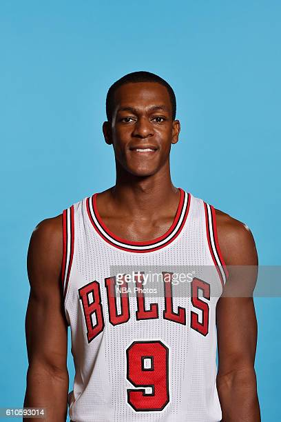 Rajon Rondo of the Chicago Bulls poses for a head shot during the 20162017 Chicago Bulls Media Day on September 26 2016 at the Advocate Center in...