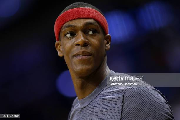 Rajon Rondo of the Chicago Bulls warms up before a game against the New Orleans Pelicans at the Smoothie King Center on April 2 2017 in New Orleans...