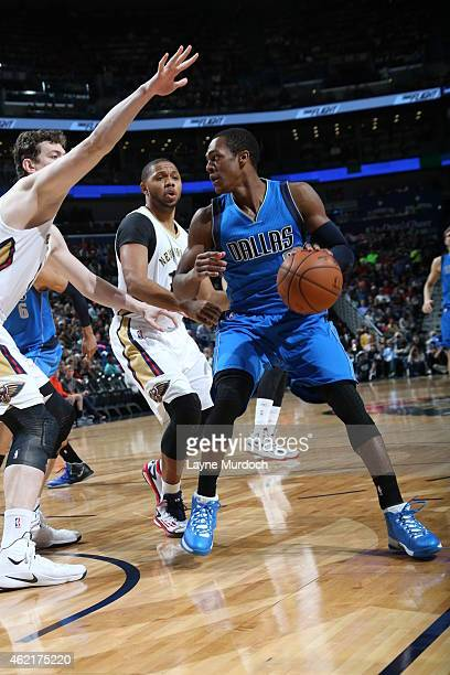 Rajon Rondo of the Dallas Mavericks handles the ball against the New Orleans Pelicans on January 25 2015 at Smoothie King Center in New Orleans...