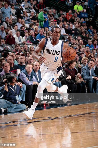Rajon Rondo of the Dallas Mavericks handles the ball against the New Orleans Pelicans during the game on March 2 2015 at the American Airlines Center...