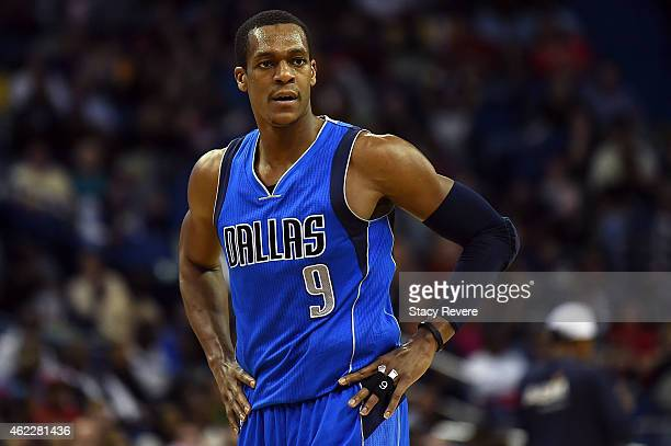 Rajon Rondo of the Dallas Mavericks reacts to an officials call during the second half of a game against the New Orleans Pelicans at the Smoothie...