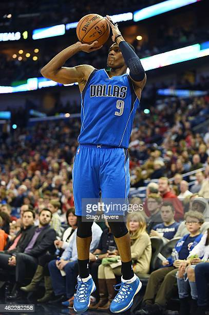 Rajon Rondo of the Dallas Mavericks takes a shot during the second half of a game against the New Orleans Pelicans at the Smoothie King Center on...