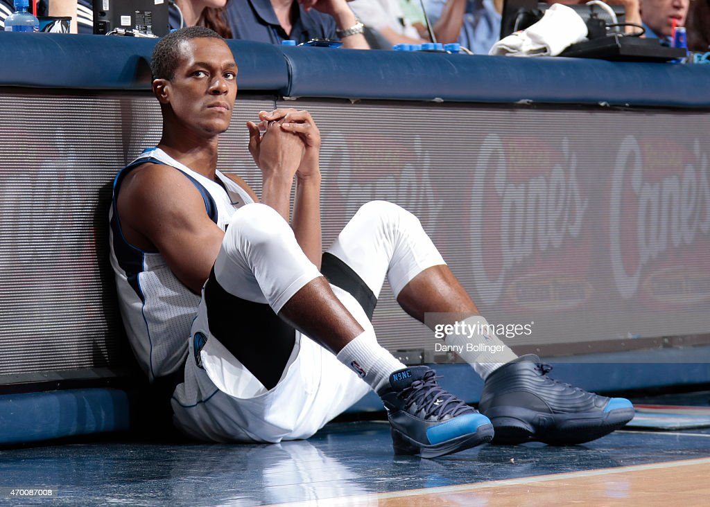 Rajon Rondo #9 of the Dallas Mavericks waits to check in during a game against the Portland Trail Blazers on April 15, 2015 at the American Airlines Center in Dallas, Texas.