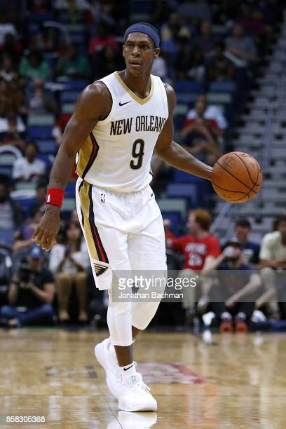 Rajon Rondo of the New Orleans Pelicans drives with the ball during a preseason game against the Chicago Bulls at the Smoothie King Center on October...