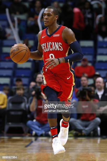 Rajon Rondo of the New Orleans Pelicans drives with the ball during the first half of a game against the Denver Nuggets at the Smoothie King Center...