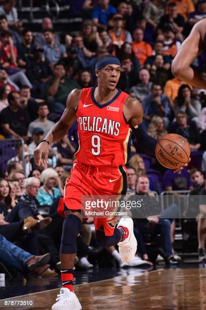 Rajon Rondo of the New Orleans Pelicans handles the ball against the Phoenix Suns on November 24 2017 at Talking Stick Resort Arena in Phoenix...