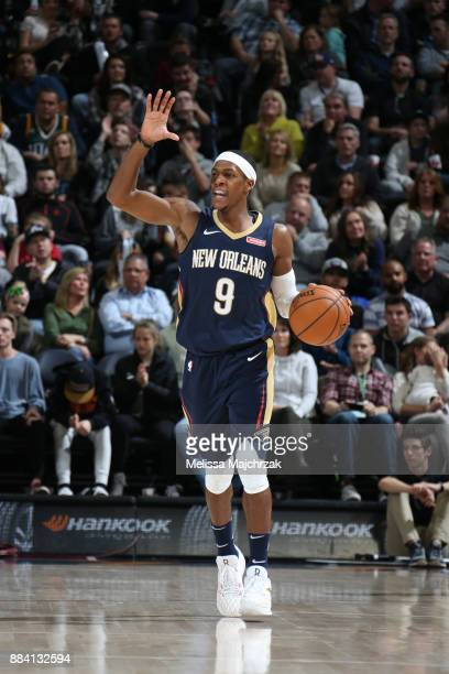 Rajon Rondo of the New Orleans Pelicans handles the ball against the Utah Jazz on December 1 2017 at vivintSmartHome Arena in Salt Lake City Utah...