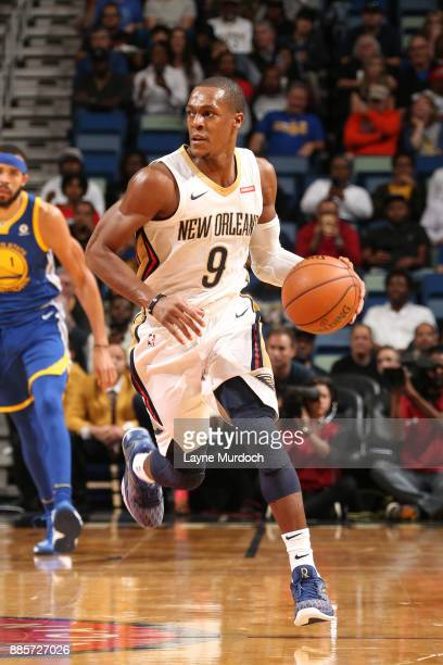 Rajon Rondo of the New Orleans Pelicans handles the ball against the Golden State Warriors on December 4 2017 at Smoothie King Center in New Orleans...