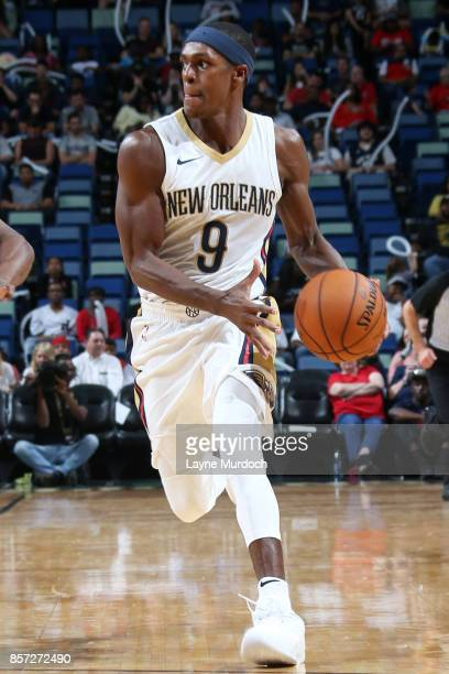 Rajon Rondo of the New Orleans Pelicans handles the ball during a preseason game against the Chicago Bulls on October 3 2017 at the Smoothie King...
