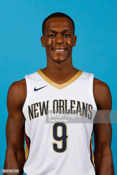 Rajon Rondo of the New Orleans Pelicans poses for a head shot during media day on September 25 2017 at Smoothie King Center in New Orleans Louisiana...