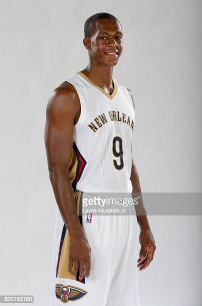 Rajon Rondo of the New Orleans Pelicans poses for portraits on July 19 2017 at the New Orleans Pelicans Practice Facility in Metairie Louisiana NOTE...