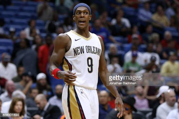 Rajon Rondo of the New Orleans Pelicans reacts during a preseason game against the Chicago Bulls at the Smoothie King Center on October 3 2017 in New...