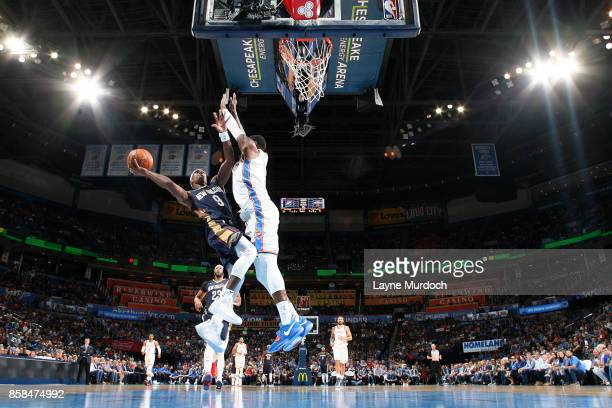 Rajon Rondo of the New Orleans Pelicans shoots a lay up during the game against the Oklahoma City Thunder during a preseason game on October 6 2017...
