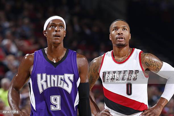 Rajon Rondo of the Sacramento Kings and Damian Lillard of the Portland Trail Blazers during the preseason game on October 5 2015 at the Moda Center...