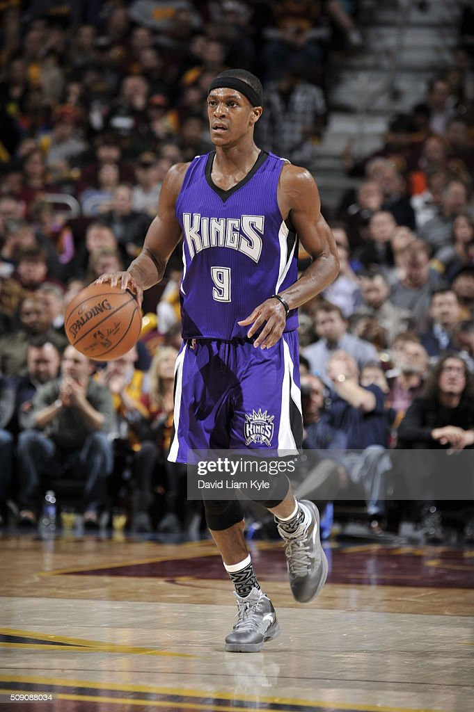 <a gi-track='captionPersonalityLinkClicked' href=/galleries/search?phrase=Rajon+Rondo&family=editorial&specificpeople=206983 ng-click='$event.stopPropagation()'>Rajon Rondo</a> #9 of the Sacramento Kings brings the ball up court against the Cleveland Cavaliers on February 8, 2016 at Quicken Loans Arena in Cleveland, Ohio.