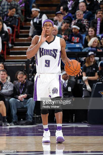 Rajon Rondo of the Sacramento Kings brings the ball up the court against the New Orleans Pelicans on January 13 2016 at Sleep Train Arena in...