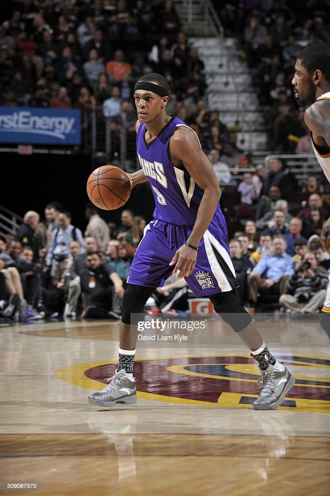 <a gi-track='captionPersonalityLinkClicked' href=/galleries/search?phrase=Rajon+Rondo&family=editorial&specificpeople=206983 ng-click='$event.stopPropagation()'>Rajon Rondo</a> #9 of the Sacramento Kings dribbles the ball against the Cleveland Cavaliers on February 8, 2016 at Quicken Loans Arena in Cleveland, Ohio.