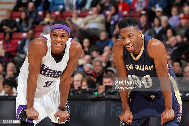 Rajon Rondo of the Sacramento Kings faces off against Norris Cole of the New Orleans Pelicans on January 13 2016 at Sleep Train Arena in Sacramento...