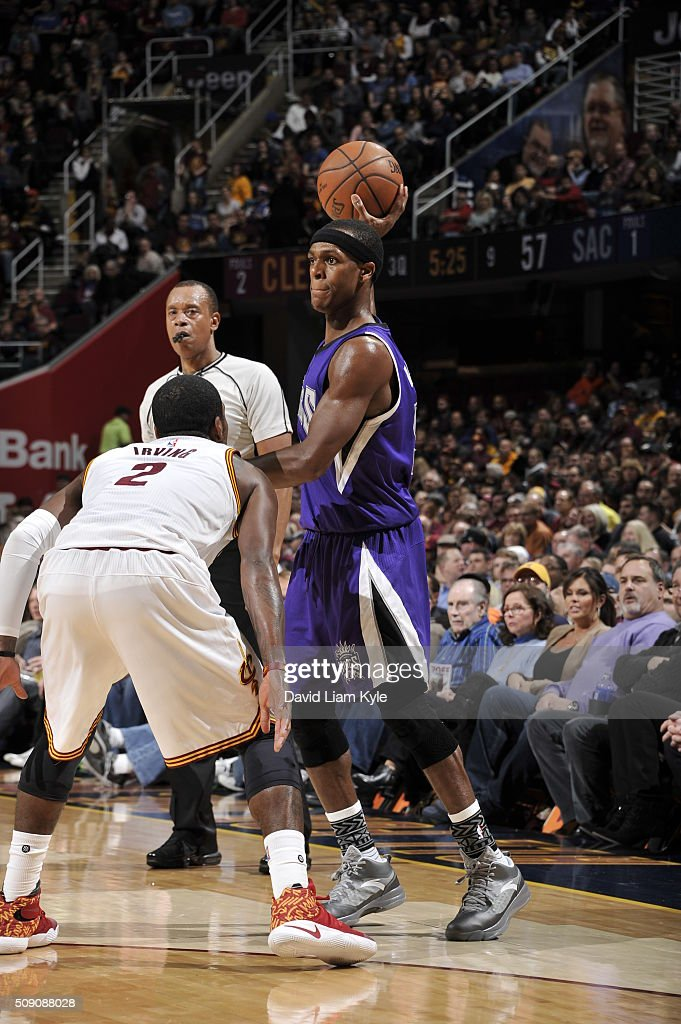 <a gi-track='captionPersonalityLinkClicked' href=/galleries/search?phrase=Rajon+Rondo&family=editorial&specificpeople=206983 ng-click='$event.stopPropagation()'>Rajon Rondo</a> #9 of the Sacramento Kings handles the ball against Kyrie Irving #2 of the Cleveland Cavaliers on February 8, 2016 at Quicken Loans Arena in Cleveland, Ohio.
