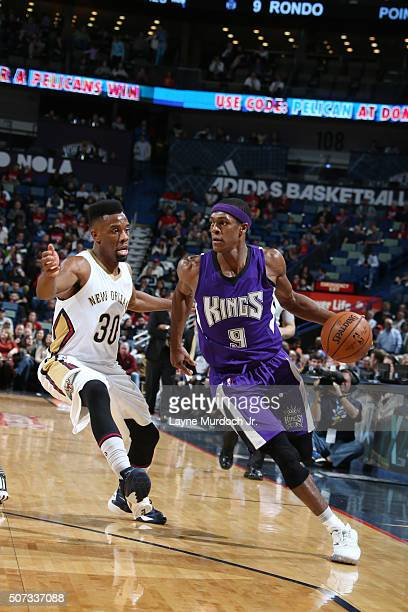 Rajon Rondo of the Sacramento Kings handles the ball against the New Orleans Pelicans on January 28 2016 at the Smoothie King Center in New Orleans...