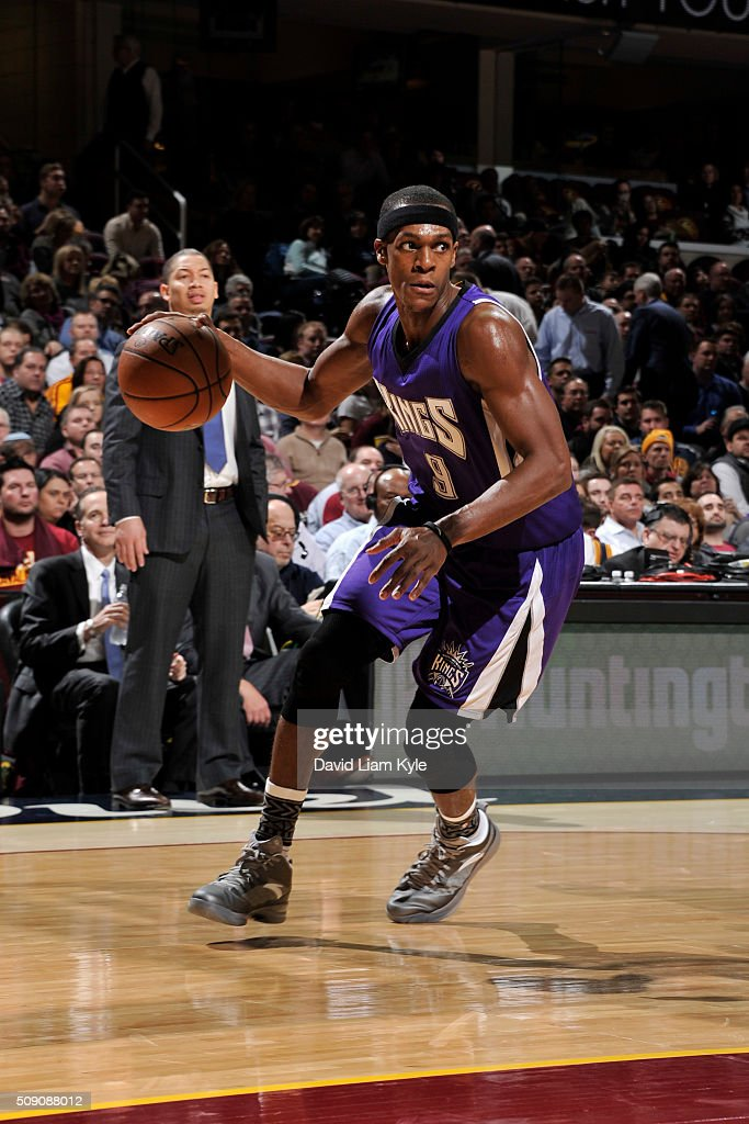 <a gi-track='captionPersonalityLinkClicked' href=/galleries/search?phrase=Rajon+Rondo&family=editorial&specificpeople=206983 ng-click='$event.stopPropagation()'>Rajon Rondo</a> #9 of the Sacramento Kings handles the ball against the Sacramento Kings on February 8, 2016 at Quicken Loans Arena in Cleveland, Ohio.