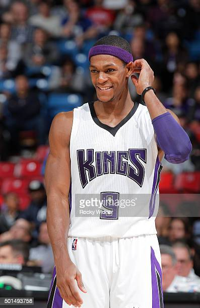 Rajon Rondo of the Sacramento Kings looks on during the game against the Utah Jazz on December 8 2015 at Sleep Train Arena in Sacramento California...