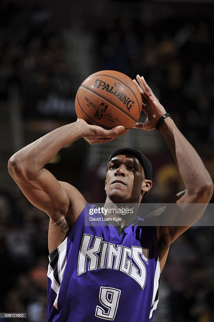 <a gi-track='captionPersonalityLinkClicked' href=/galleries/search?phrase=Rajon+Rondo&family=editorial&specificpeople=206983 ng-click='$event.stopPropagation()'>Rajon Rondo</a> #9 of the Sacramento Kings prepares to shoot a free throw against the Cleveland Cavaliers on February 8, 2016 at Quicken Loans Arena in Cleveland, Ohio.