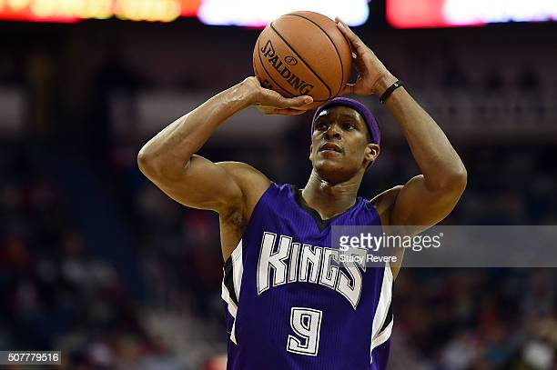 Rajon Rondo of the Sacramento Kings shoots a free throw during a game against the New Orleans Pelicans at the Smoothie King Center on January 28 2016...