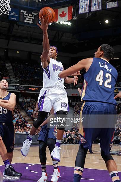 Rajon Rondo of the Sacramento Kings shoots a layup against the New Orleans Pelicans on January 13 2016 at Sleep Train Arena in Sacramento California...