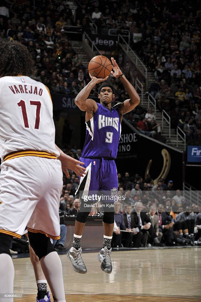 <a gi-track='captionPersonalityLinkClicked' href=/galleries/search?phrase=Rajon+Rondo&family=editorial&specificpeople=206983 ng-click='$event.stopPropagation()'>Rajon Rondo</a> #9 of the Sacramento Kings shoots against the Cleveland Cavaliers on February 8, 2016 at Quicken Loans Arena in Cleveland, Ohio.