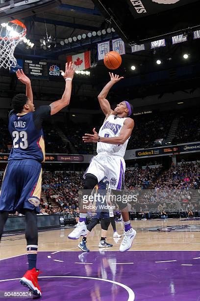 Rajon Rondo of the Sacramento Kings shoots the ball against the New Orleans Pelicans on January 13 2016 at Sleep Train Arena in Sacramento California...