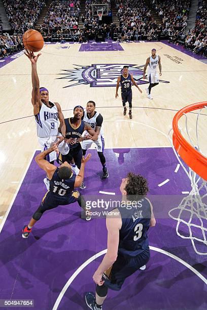 Rajon Rondo of the Sacramento Kings shoots the ball against the New Orleans Pelicans at Sleep Train Arena on January 13 2016 in Sacramento California...