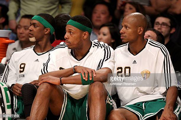 Rajon Rondo Paul Pierce and Ray Allen of the Boston Celtics sit on the bench during the Celtics' loss to the Los Angeles Lakers in Game Six of the...