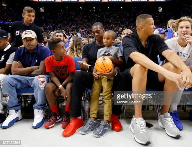 Rajon Rondo signs an autograph during week seven of the BIG3 three on three basketball league at Rupp Arena on August 6 2017 in Lexington Kentucky