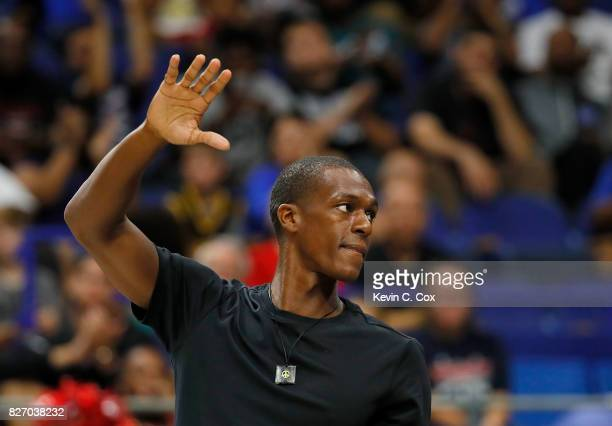 Rajon Rondo waves to the crowd after being introduced at center court during week seven of the BIG3 three on three basketball league at Rupp Arena on...