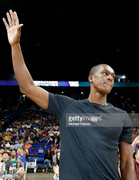 Rajon Rondo waves to the crowd during week seven of the BIG3 three on three basketball leagueat Rupp Arena on August 6 2017 in Lexington Kentucky