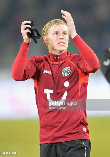 Rajtoral Frantisek of Hannover celebrates his teams win at the end of the Bundesliga match between Hannover 96 and Borussia Moenchengladbach at...