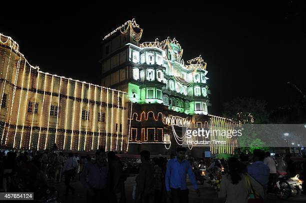 Rajwada royal palace of Indore built by the Holkars illuminated with lights on the eve of Hindu festival Diwali on October 22 2014 in Indore India...