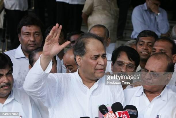 Rajya Sabha Elections Industrialist Rahul Bajaj coming out of Vidhan Bhavan after winning the Rajya Sabha seat Also seen Prakash Javdekar Jitendra...